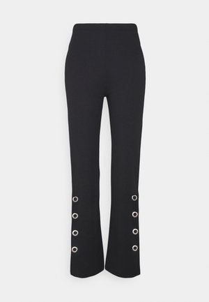 EYELET STRAIGHT CREPE PANTS - Trousers - black