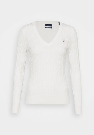 STRETCH CABLE V-NECK - Jumper - eggshell