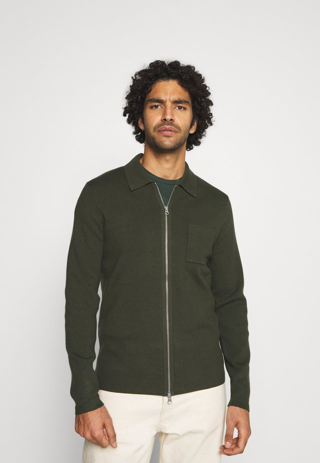 GUNA ZIP - Cardigan - kambu green