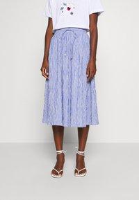 Rich & Royal - MIDI SKIRT STRIPED - A-line skirt - deep indigo - 0