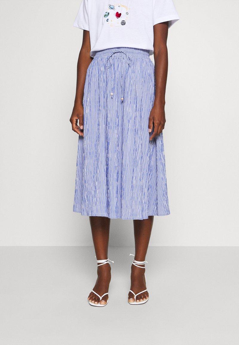 Rich & Royal - MIDI SKIRT STRIPED - A-line skirt - deep indigo
