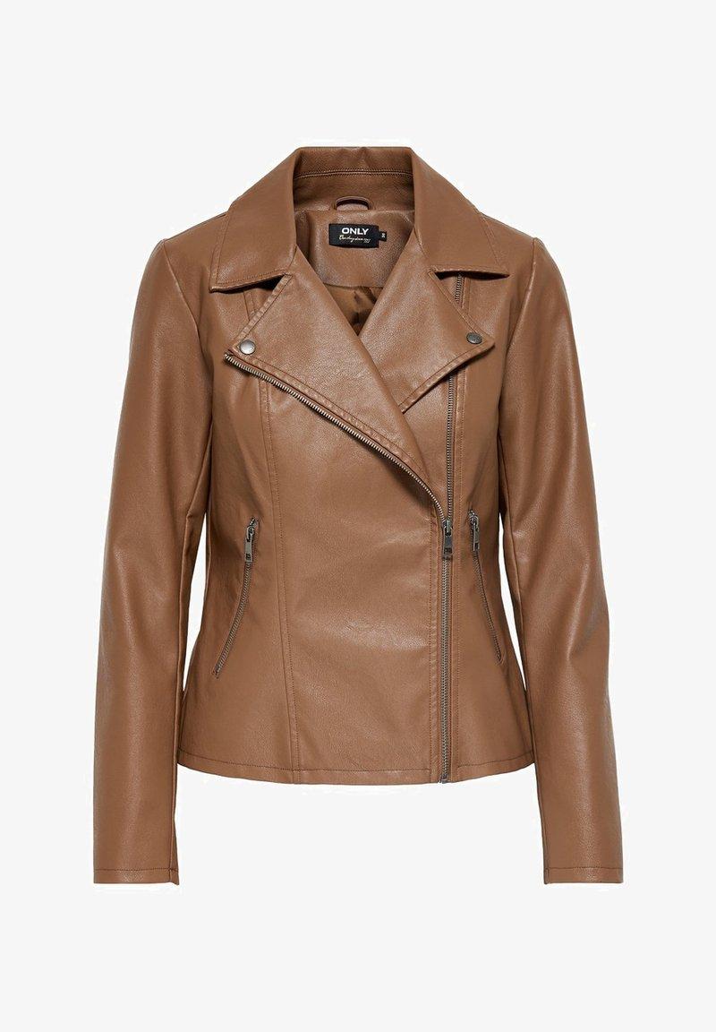 ONLY - ONLMELISA BIKER - Faux leather jacket - cognac