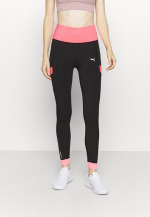 TRAIN BONDED HIGH RISE FULL - Leggings - black/luminous peach