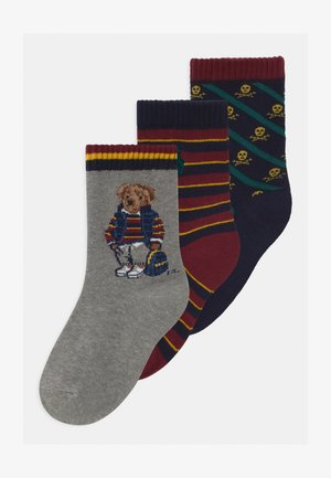 BEAR CREW 3 PACK - Socks - wine/navy/green