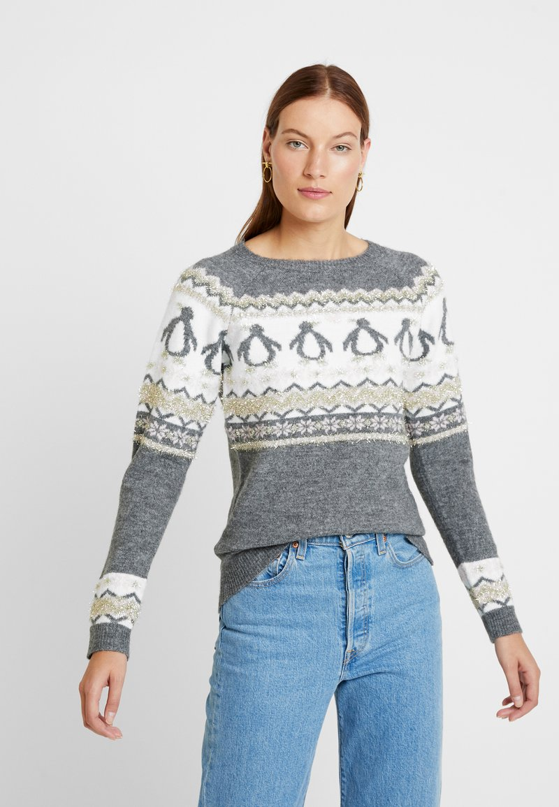 Dorothy Perkins - FAIRISLE TINSEL PENGUIN - Jumper - grey marl