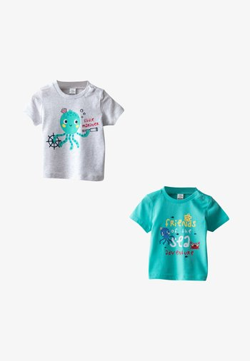 2-PACK - Print T-shirt - grey, turquoise