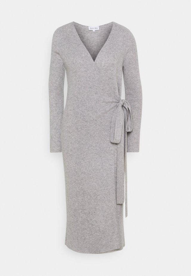 WRAP MIDI DRESS - Jumper dress - light grey