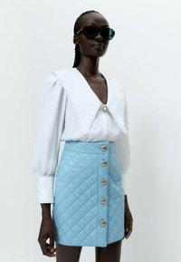 Uterqüe - A-line skirt - light blue - 3