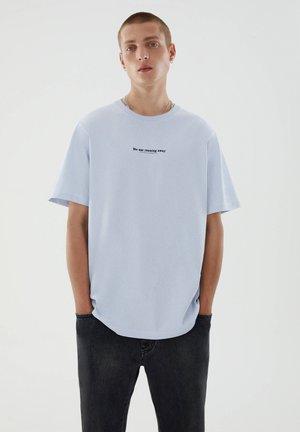 Print T-shirt - mottled light blue