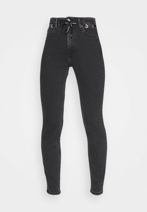 HIGH RISE SKINNY - Jeansy Skinny Fit - black with eyelet