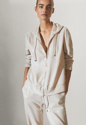MIT REISSVERSCHLUSS  - Zip-up hoodie - beige