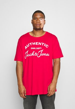 JJHERO TEE CREW NECK - Print T-shirt - tango red