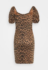 Missguided - PUFF SLEEVE TIE FRONT BODYCON DRESS - Pouzdrové šaty - brown - 1
