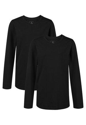 WE FASHION JONGENS V-NECK T-SHIRT, 2-PACK - Long sleeved top - black