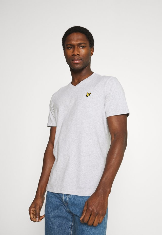 V NECK - T-shirt basic - light grey marl