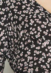 Miss Selfridge - FLORAL V NECK BLOUSE - Langarmshirt - black - 5