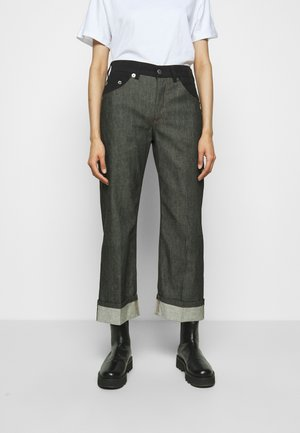 WIDE TUBE MIXED FABRIC - Jeans straight leg - black denim