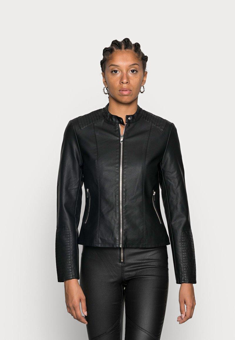 Vila - Faux leather jacket - black