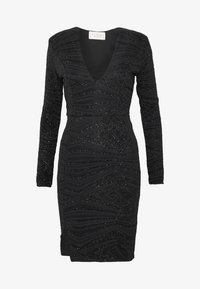 Club L London - PLUNGE SPARKLE MINI DRESS WITH THIGH SPLIT - Vestido de cóctel - black - 5