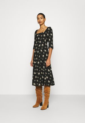 SQUARE NECK WOVEN MIDI  - Robe d'été - black