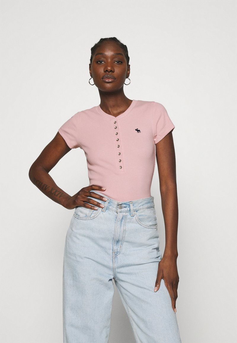 Abercrombie & Fitch - HENLEY - Basic T-shirt - pink