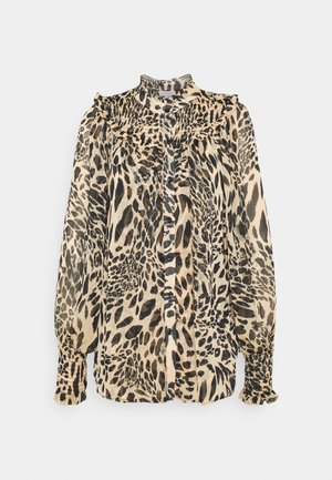 ANIMAL SHIRRED BLOUSE - Koszula - brown