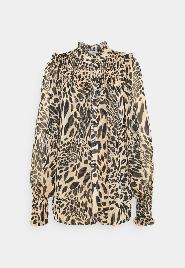ANIMAL SHIRRED BLOUSE - Camicia - brown