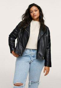 Mango - Leather jacket - schwarz - 0