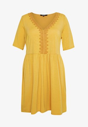 CROCHET TRIM SWING DRESS - Vestido informal - mustard