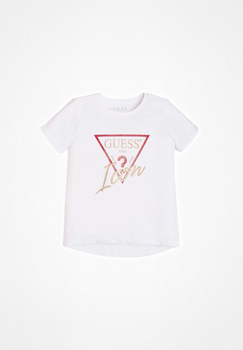 Guess - GLITTER ICON - T-shirt z nadrukiem - fuchsia