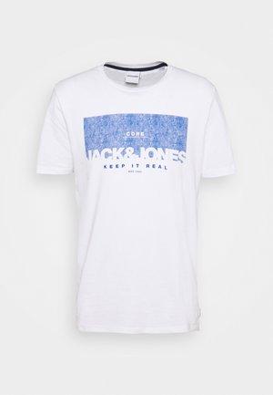 JJDENIMTEE CREW NECK - Print T-shirt - white