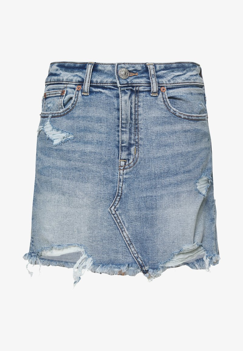 American Eagle - HI RISE MINI SKIRT - Farkkuhame - medium destroy