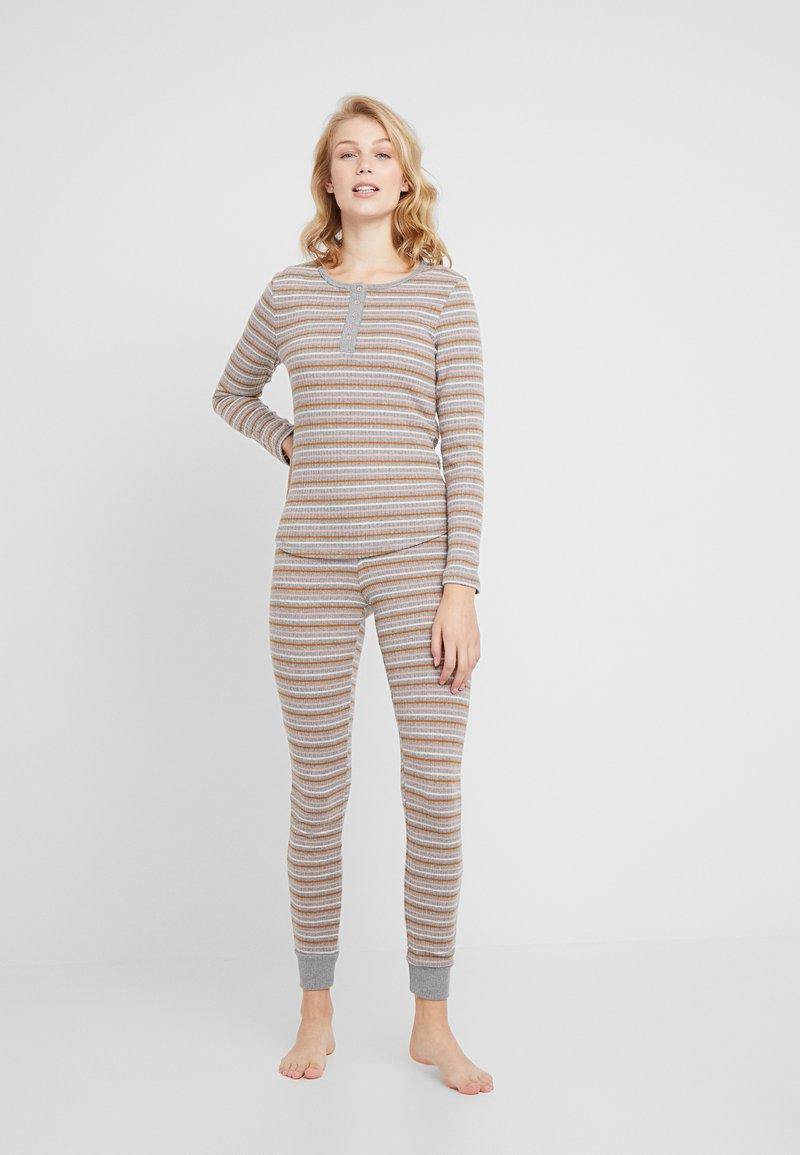 Hunkemöller - PANT STRIPE SET - Pyžamová sada - mid grey