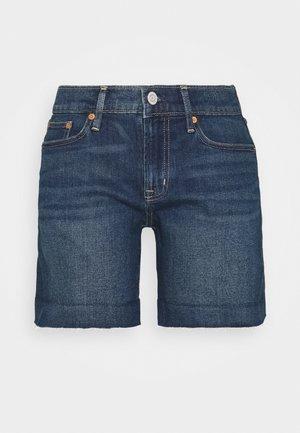 KUDANA RAW CUFF - Denim shorts - dark indigo