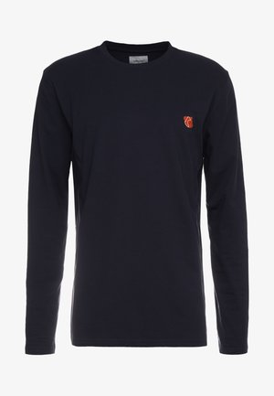 DAVID - Long sleeved top - dark navy/orange teddy