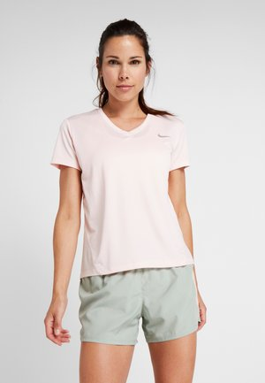 MILER V NECK - Print T-shirt - echo pink/reflective silv