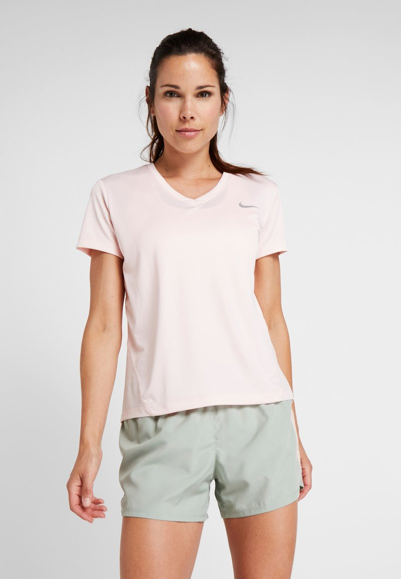 Nike Performance - MILER V NECK - Print T-shirt - echo pink/reflective silv