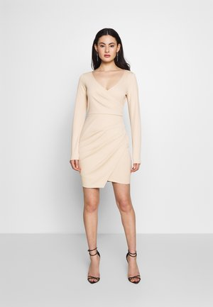 LONG SLEEVE WRAP DRESS - Pouzdrové šaty - beige