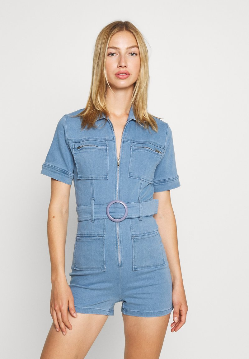 Missguided - SELF BELTED PLAYSUIT - Overall / Jumpsuit /Buksedragter - light wash