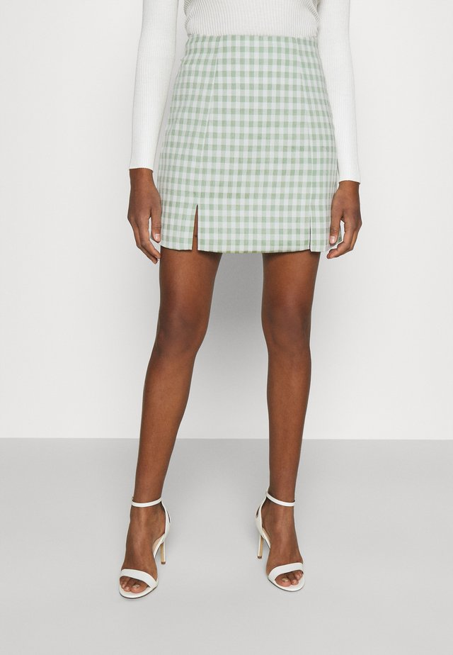 MAYA HIGH WAISTED MINI SKIRT WITH FRONT SIDE SPLITS - Mini skirts  - mint gingham