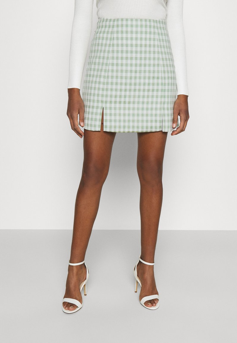 Glamorous - MAYA HIGH WAISTED MINI SKIRT WITH FRONT SIDE SPLITS - Miniskjørt - mint gingham