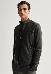 Massimo Dutti - Leather jacket - blue - 0