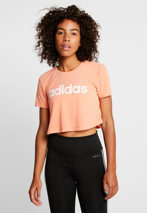 CROP TEE - T-shirts med print - semi coral/white