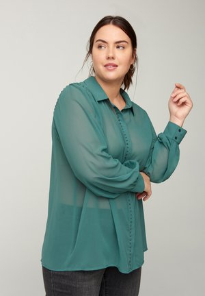 MIT NIETEN - Button-down blouse - dark green