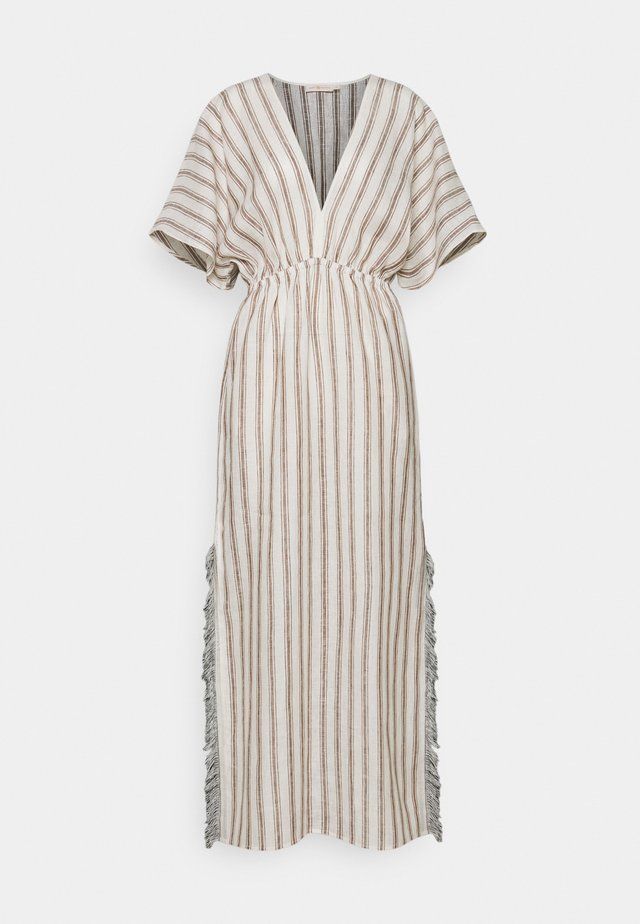 STRIPED CAFTAN - Robe longue - ivory/anise brown