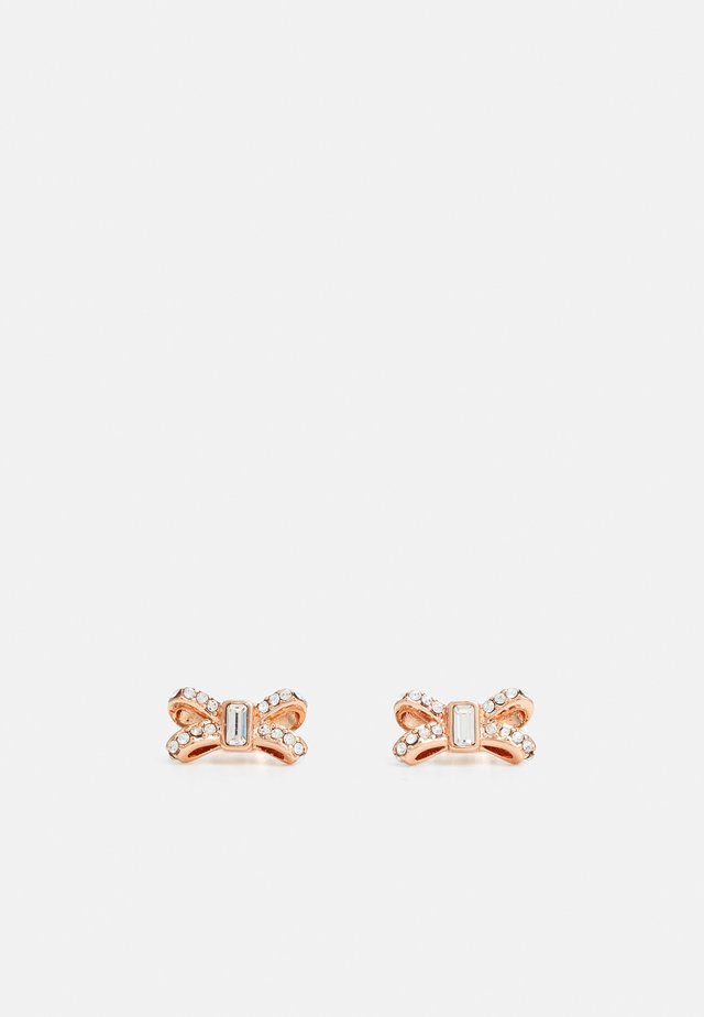 SABLA SPARKLE BOW STUD EARRING - Boucles d'oreilles - rose gold-coloured/crystal