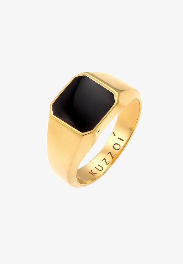 CHUNKY SQUARE BLACK - Ring - gold