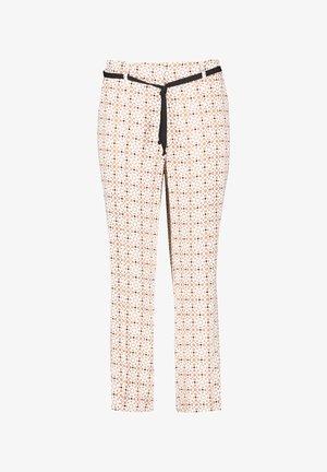 Pantalon classique - braun/ecru/weiss druck