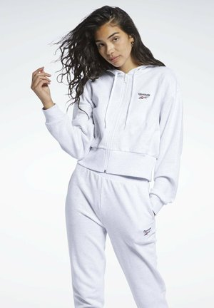 CLASSIC SMALL LOGO FULL ZIP FOUNDATION CASUAL HOODIE - Bluza z kapturem - white