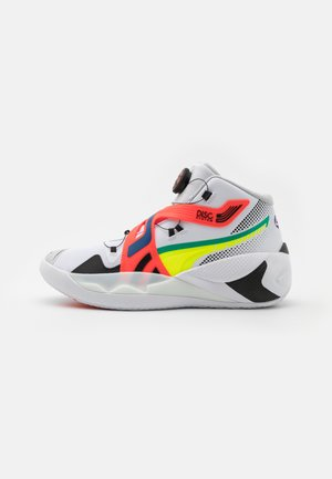DISC REBIRTH - Basketball shoes - white/yellow alert